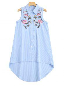 Sleeveless Stripes Embroidered High Low Shirt - Stripe M