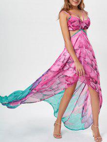 المطبوعة الشيفون انقطاع ارتفاع منخفض اللباس - وردة حمراء L