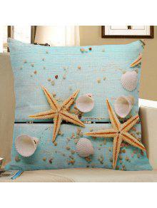 نجم البحر قذيفة قذيفة طباعة الكتان وسادة القضية - الضوء الأزرق 45*45cm