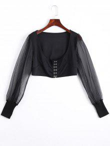 U Neck Organza Panel Crop Jacket - Black L