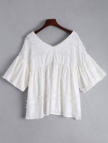 V Neck Lantern Sleeve Plain Blouse - White M