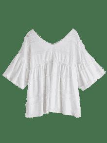 c323433561997 2019 V Neck Lantern Sleeve Plain Blouse In WHITE XL
