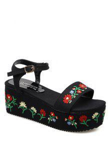 Denim Embroidery Platform Sandals - Black 37