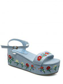 Denim Embroidery Platform Sandals - Light Blue 37
