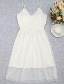 Mesh Padded Smocked Cami Sleep Dress - White M