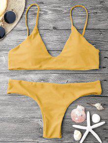 Adjustable Straps Padded Bralette Bikini Set - Mustard S