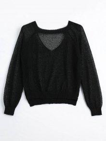 Sheer Choker Knitwear - Black
