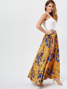 833ade5ebd 36% OFF] 2019 African High Waist Printed Skirt In DEEP YELLOW | ZAFUL