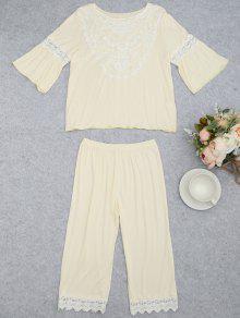Loungewear Lace Crochet Panel Top With Capri Pants - Palomino M