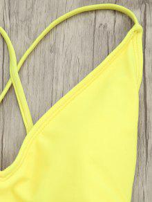 cab0363073 18% OFF] 2019 V Neck High Cut One-piece Swimsuit In YELLOW | ZAFUL