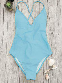 V Neck High Cut One Piece Swimsuit - Blue M