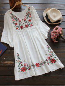 V فستان مطرز بالأزهار ريف الرقبة - أبيض