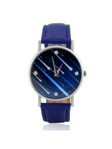 Faux Leather Strap Meteor Shower Face Watch - Blue