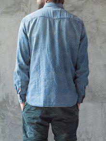 De Hombre Para Lavado Modelado Mirco Camisa Mezclilla wt004Tq