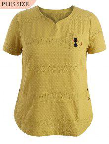Side Buttoned Sheer Plus Size Top - Yellow 4xl