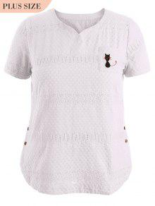 Side Buttoned Sheer Plus Size Top - White Xl