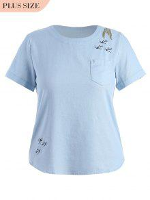 Embroidered Plus Size Top With Pocket - Charm Xl