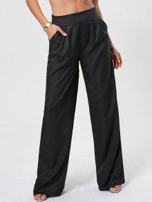 pantalon palazzo long taille haute noir pantalons 2xl zaful. Black Bedroom Furniture Sets. Home Design Ideas