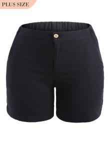 Plus Size High Waisted Embroidered Shorts - Black 3xl