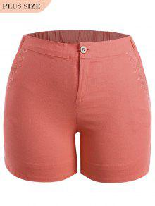 Plus Size High Waisted Embroidered Shorts - Orangepink Xl