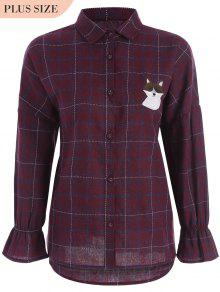 Checked Doggy Patched Plus Size Shirt - Red Xl