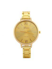 Alloy Strap Roman Numerals Watch - Golden