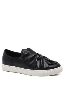 Bow Round Toe Faux Leather Flat Shoes - Black 39