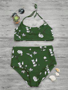 Ensemble De Bikini Amincissant Bralette Taille Haute Contrôle - Vert S