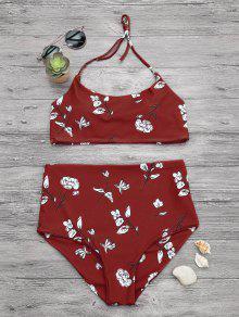 Slimming Control High Waisted Bralette Bikini Set - Red L