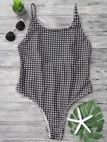Open Back Gingham One Piece Swimsuit - White And Black L
