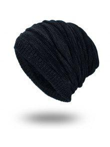 بطانة المخملية بطانة محبوك قبعة صغيرة - أسود