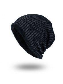 مخطط المخملية بطانة الحياكة قبعة دافئة - أسود