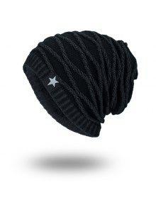 قبعة صوفية مخطط مخملية كتانية محبوك - الأسود الكامل
