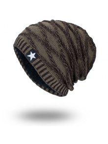قبعة صوفية مخطط مخملية كتانية محبوك - ترابي