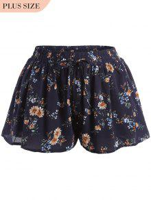 Elastic Waist Plus Size Tiny Floral Shorts - Floral 2xl