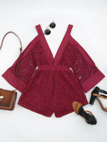 Plunging Neck Cold Shoulder Hollow Out Romper - Red M