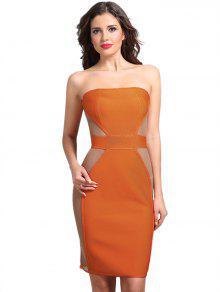 Vestido Sin Tirantes De Paneles De Malla - Naranja L