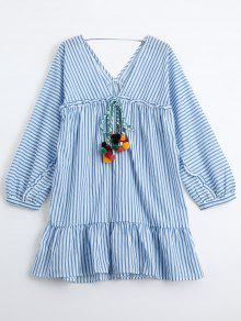 Ruffles Striped Tunic Dress With Fuzzy Balls - Stripe M