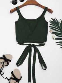 Knitted Wrap Crop Tank Top - Blackish Green S