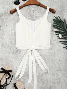 Knitted Wrap Crop Tank Top - White S