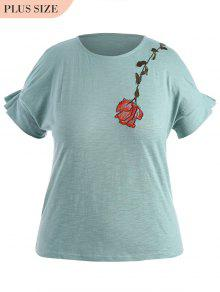 Draped Sleeve Plus Size Floral Embroidered  Top - Light Blue Xl