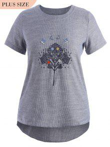 Embroidered Plus Size Striped Top - Gray 4xl