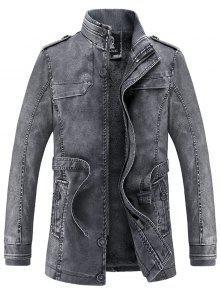 معطف بجلد اصطناعي وقوف الرقبة بفتحات طويلة - ازرق رمادي Xl
