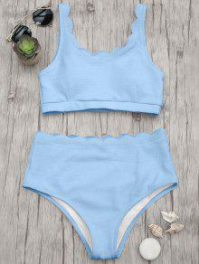 Scalloped High Waisted Bralette Bikini Set - Light Blue M