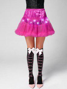 Ruffles Light Up Tutu Voile Cosplay Skirt - Deep Pink