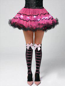 Color Block Tier Light Up Tutu Cosplay Skirt - Deep Pink