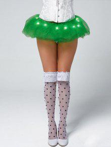 Tier Mesh Light Up Ballet Cosplay Skirt - Green
