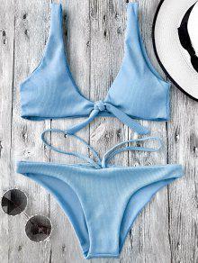 Knotted Textured Scoop Bikini Set - Light Blue M