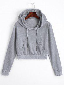 Front Pocket Drawstring Crop Hoodie - Gray S