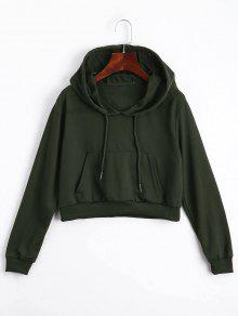 Front Pocket Drawstring Crop Hoodie - Army Green S